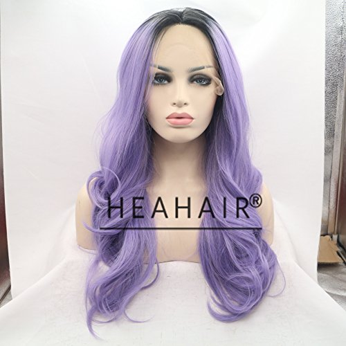Heahair Fashion Color Ombre Pueple Natural Straight Handtied Synthetic Lace Front Wig (Purple 2) by Heahair