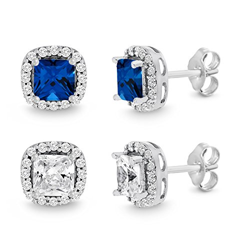 Mia Sarine Simulated Cushion Blue Sapphire and Clear Cubic Zirconia Halo Stud Earring 2 pc Set in Rhodium over Brass