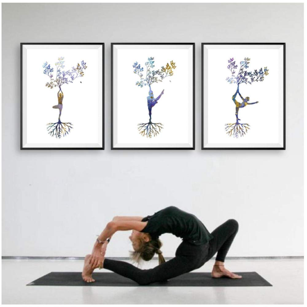 Yoga Print Tryptic Yoga Art-Posters and Prints-Woman Yoga ...