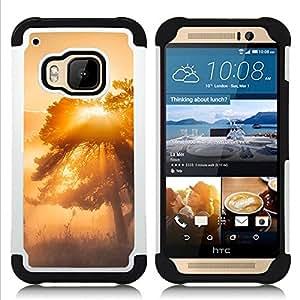 """HTC One M9 /M9s / One Hima - 3 en 1 impreso colorido de Altas Prestaciones PC Funda chaqueta Negro cubierta gel silicona suave (Glow Árbol Misty"""")"""