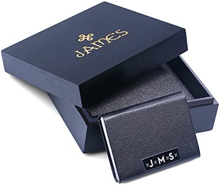 Amazon new town creative dg monogram leather business card new town creative dg monogram leather business card holder with wood gift box free custom engraving best gift idea for professionals colourmoves