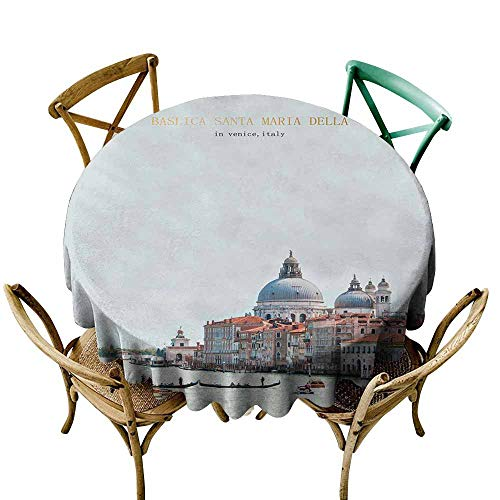 CAONM Round Tablecloth Fitted View on Venice from The sea, Veneto D70,Round Tablecloth