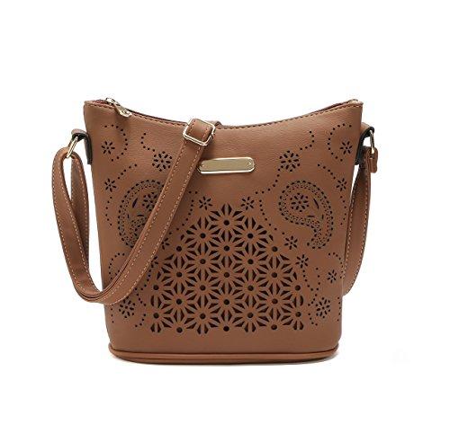 PU Messenger Bag Women Girls Handbag Bucket Bag Hollow Out style Croosbody Shoulder Bag Coffee - Shoulder Style Handbag Bag Purse