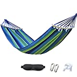 HappyGo Camping Hammock Cotton Canvas Beach Swing Bed with Spreader Bar for Backyard, Porch, Balcony, Indoor or Outdoor Use Support to 280kg Width 150cm