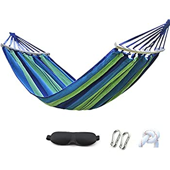HappyGo Camping Hammock Cotton Canvas Beach Swing Bed with Spreader Bar for Backyard, Porch, Balcony, Indoor or Outdoor Use Support to 600lbs Width 59inch