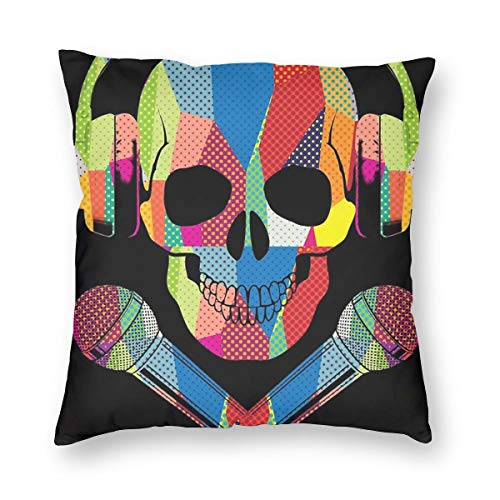 Private Bath Customiz Retro DJ Skull Music Square Decorative Throw Pillow Case Cushion Covers Home Pillowcases 18 X 18 Inch