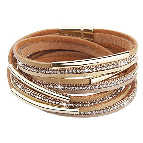 Womens Leather Boho Wrap Saachi Stacking Bracelets,Cuff Wrap Boho Multilayer Wide Crystal Metal Around Gold Wrist Magnetic Clasp Buckle Casual Bangle Bracelets for Teen Girls,Women,Boy Gift (S-CB)