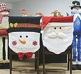Elfjoy Christmas Santa Claus & Snowman Chair Back Covers for Xmas Holiday Festive Decor (Group)