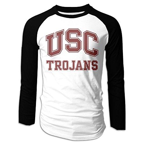 Creamfly Mens USC Trojans Logo Long Sleeve Raglan Baseball Tshirt L