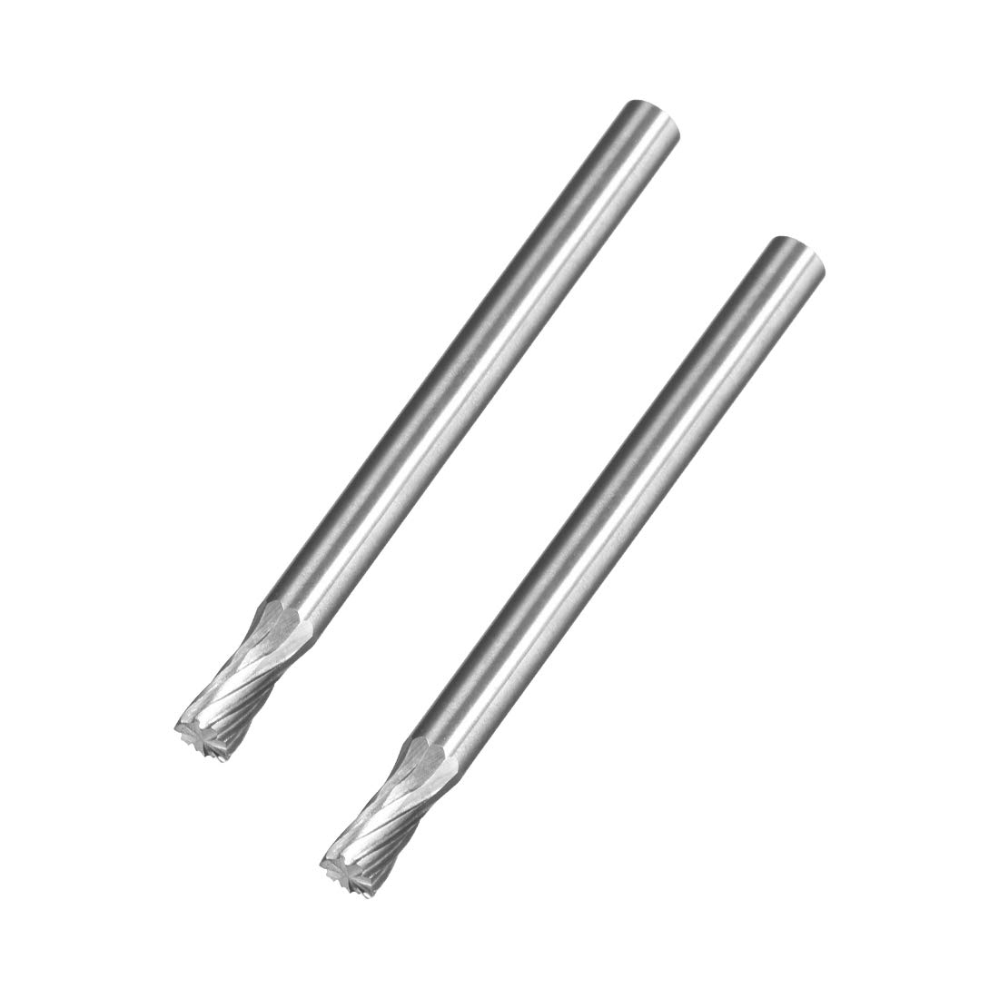 for Die Grinder Drill Hard Metal Carving Polishing Engraving uxcell Tungsten Carbide Rotary Files 1//8 Shank 2pcs Single Cut Top Toothed Cylinder Shape Rotary Burrs Tool 3mm Dia