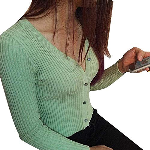 Giacche Knit Moda Outwear Slim Stlie Cappotto V Eleganti Grazioso Single Fit Primaverile Autunno Lunghe Giacca Maglia A Monocromo Donna Maniche Grau Breasted neck wx4qRn8zPO