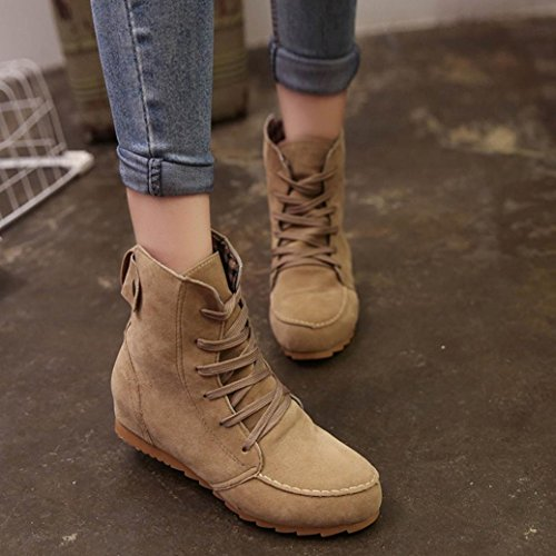 Flat Ankle Boots,Hemlock Women Snow Motorcycle Boots Female PU Leather Lace-Up Boot Martens Shoes (US:7.5, Khaki)