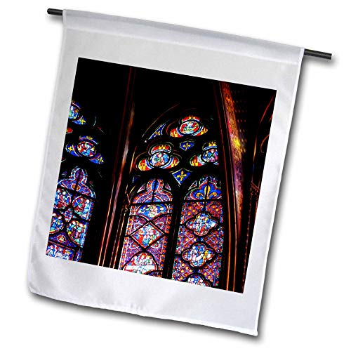 3dRose Elysium Photography - Architecture - Stained glass in La Sainte-Chapelle, Paris - 12 x 18 inch Garden Flag (fl_289632_1)