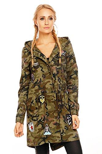 OSLEY Damen Military Parka im Camouflage Design, mit Kapuze, Nieten, Stickern und diversen Print-Schriftzügen 36