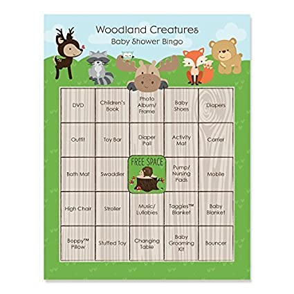 Woodland Creatures   Baby Shower Game Bingo Cards   16 Count