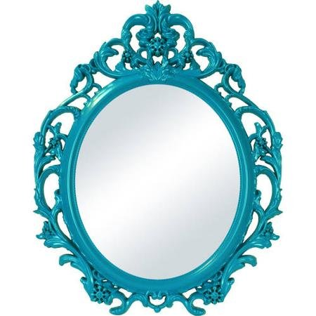 Baroque Style Oval Wall Mirror in Teal Color - Mirror Teal