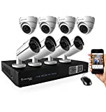 Amcrest ProHD 1080P 8CH Video Security System - Eight 2.1-Megapixel (1920TVL) Outdoor IP67 Bullet & Dome Cameras, 2TB HDD, Night Vision, Remote Smartphone Access, White Mid (AMDV10808-4B4D-W)
