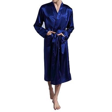 Bata Hombre Casa Largo Kimonos Satén Lujoso Lencería Suave Comodo y Agradable: Amazon.es: Ropa y accesorios