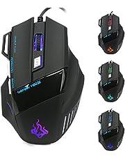 QueenDer Mouse Gaming, Mouse USB Ottico Professionale, Mouse da Gioco, con LED, DPI Alto, Tasti ergonomici 7, 3200 DPI/2400DPI/ 1600 DPI/ 1000 DPI, per Notebook, PC, Computer Portatile