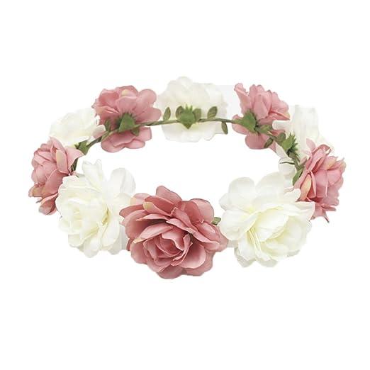 Amazon Bjduck99 Rose Flower Wreath Garland Headband Crown