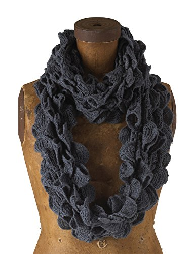 Chic Ruffle Knit Infinity Loop Scarf - Slate Gray