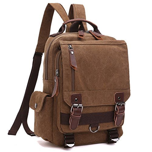 School Backpack, Lifestyle vintage Travel Rucksack for Men & Women, Lightweight College Back Pack with iPad Compartment Canvas Daypack Bookbag (MG-8596-1-BR) ()