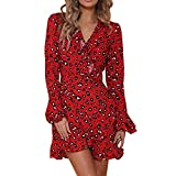WOCACHI Final Clear Out Womens Dresses Leopard Ruffled Hem V-Neck Flare Sleeve Wrap Maxi Dress Black Friday Cyber Monday Winter Autumn Party Mini Dress Above Knee Length Red