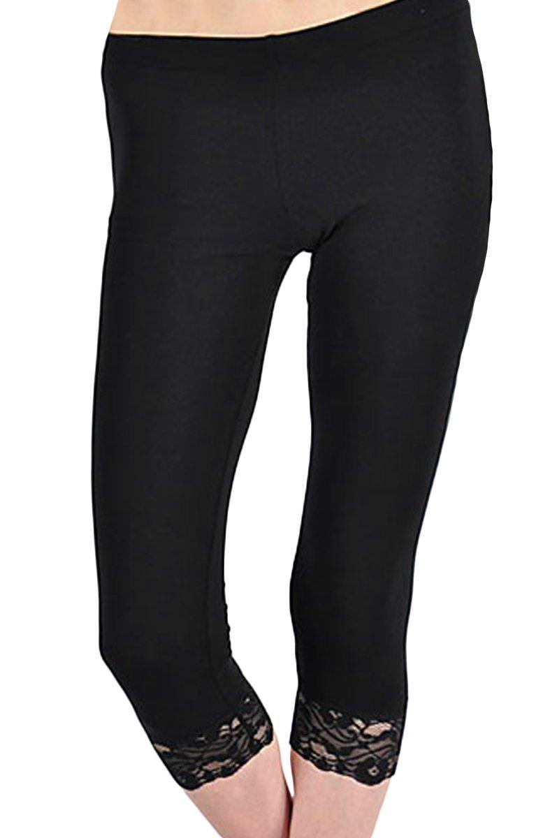KMystic Cotton Blend Lace Trim Capri Leggings (Large, Black)