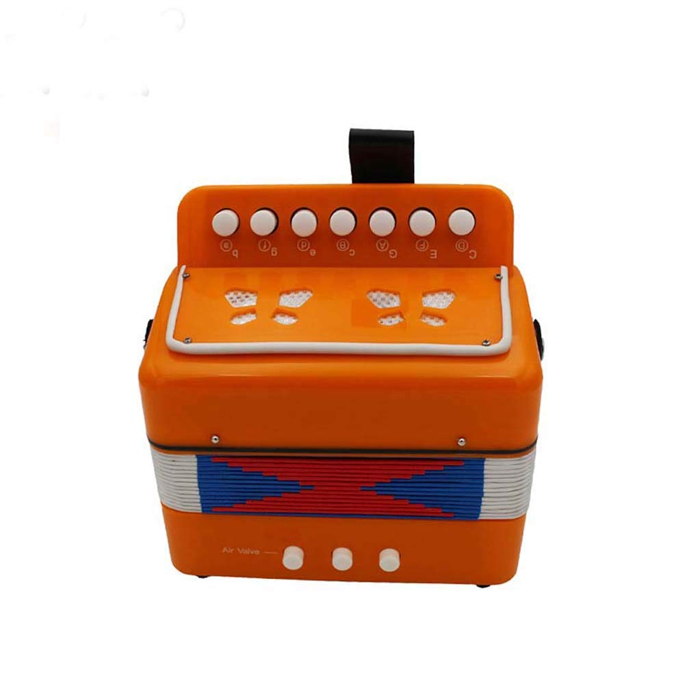 HOUTBY Kids Accordion 7-Key 2 Bass Educational Musical Instrument Rhythm Toys for Early Childhood Teaching, Orange