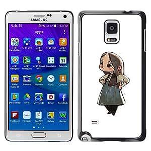 Be Good Phone Accessory // Dura Cáscara cubierta Protectora Caso Carcasa Funda de Protección para Samsung Galaxy Note 4 SM-N910 // Japanese Anime Girl Cartoon Big Eyes Art