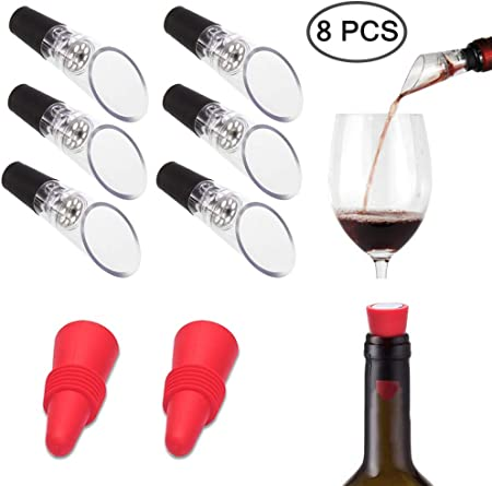 6 piezas aireadores de vino vertedores con 2 tapones de vino, FineGood decantador aireador de vino sin fugas, con tapones de silicona reutilizables para botellas