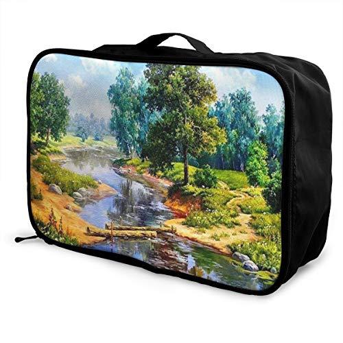 Skrencai Packing Cubes Travel Luggage Bag Receive Storage Organizer Large Portable Set with Handle River Tree