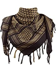 Explore Land Cotton Military Shemagh Tactical Desert Keffiyeh Scarf Wrap (Black and Brown)