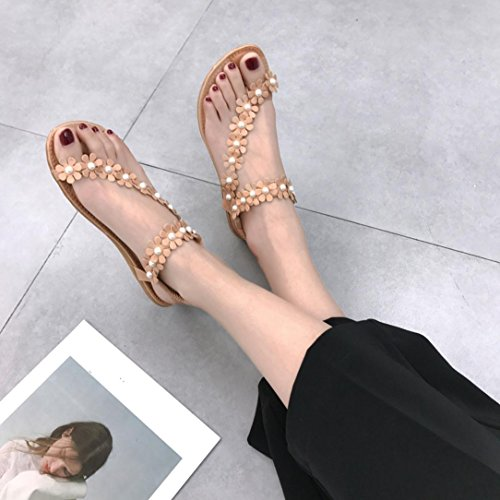 hunpta Women Summer Bohemia Flower Beads Flip-Flop Shoes Flat Sandals Khaki ZPsdrMp