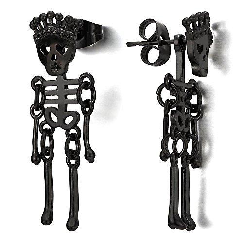 Womens Stainless Skeleton Earrings Dangle