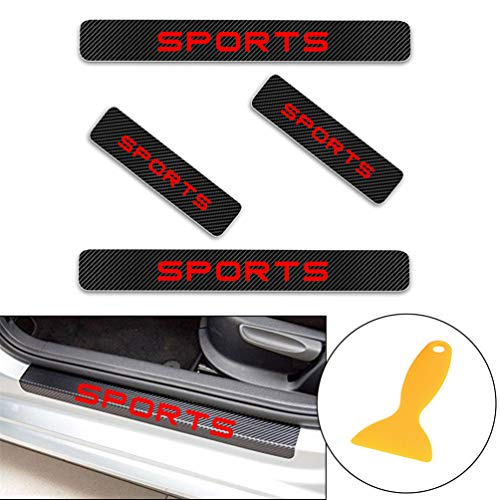 for Landrover Freelander2 Evoque Discover4 Landrover Sport Carbon Fiber Door Sill Protector Scratch Door Sill Guard 4D Welcome Pedals Guards Threshold Sticker Sticker Red 4Pcs