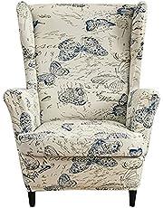 2 Stuks Fauteuilovertrek, Stretch Jacquard Wing Chair Slipcover Hoes Voor Fauteuil, Stoelhoes Bankovertrek Stoelovertrek Wingback Stoelhoezen Meubelbeschermer (Vlinder)