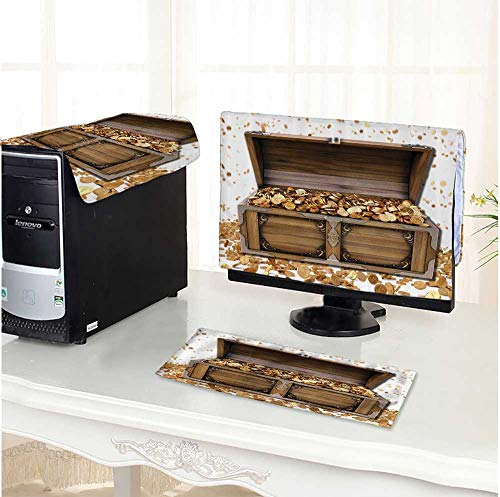 Leighhome One Machine LCD Monitor Keyboard Cover Sure Chest Golds Coins Luck Richness for Him Vintage Wooden Box Brown dust Cover 3 Pieces /23