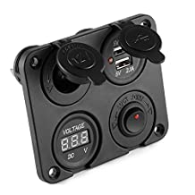 XCSOURCE 4in1 Car Dual 5V/3.1A USB Charger + Voltmeter Voltage Meter + Switch + Cigarette Lighter Power Adapter Sockets DC 12V-24V Vehicle MA1065