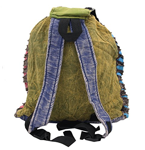 Recycled Hippe Hobo Bohemian Razor Cut Bag Backpack Hand Made Nepal (Backpack 2) by Lungta Imports (Image #4)