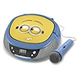 KID DESIGNS Minions MS430 CD Player Boombox with Mic, Yellow/Blue