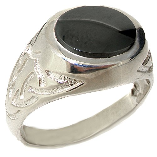 Solid 925 Sterling Silver Natural Hematite Mens Signet Ring - Size 10 - Sizes 6 to 13 Available (Hematite Promise Ring)