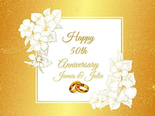 Custom Flowers And Wedding Rings Golden 50th Wedding Anniversary