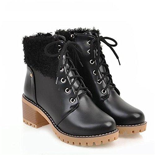 ZQ@QX Cabeza redonda de otoño e invierno impermeable grueso con Taiwán College viento atadura silvestre Martin gran número de botas, botas cortas black