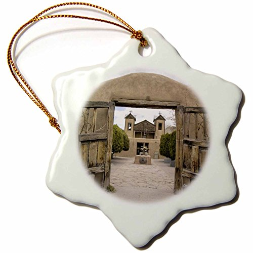 3dRose orn_92875_1 New Mexico, El Santuario De Chimayo, Church-US32 LNO0086-Luc Novovitch-Snowflake Ornament, Porcelain, 3-Inch by 3dRose