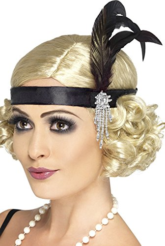 Smiffys Adult Women's Satin Charleston Headband with Feather and Jewel Detail, Black, One Size, 5020570238936 ()