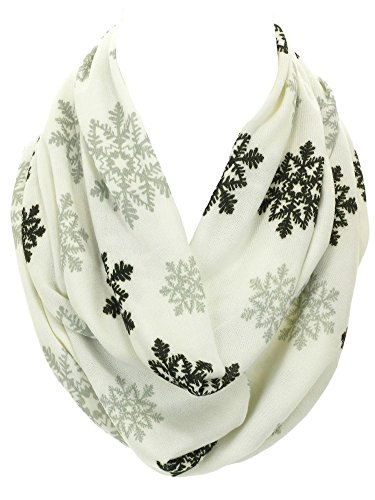 DivaDesigns Women's Soft Warm Snow Flake Double Layer Infinity Scarf Off White