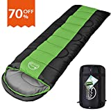 LATTCURE Sleeping Bag, Comfort Portable Lightweight Envelope Sleeping Bag with Compression Sackfor Camping,Hiking,Backpacking,Traveling and Other Outdoor Activities -Single,Green+Black,(75'+12') x33