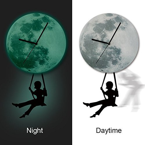 - Hysenm Picturesque Glowing Moon Pendulum Clock Wall Sticker Repositional Decorative Wall Decal For Home Office Studio Café, swinging boy, 30cm