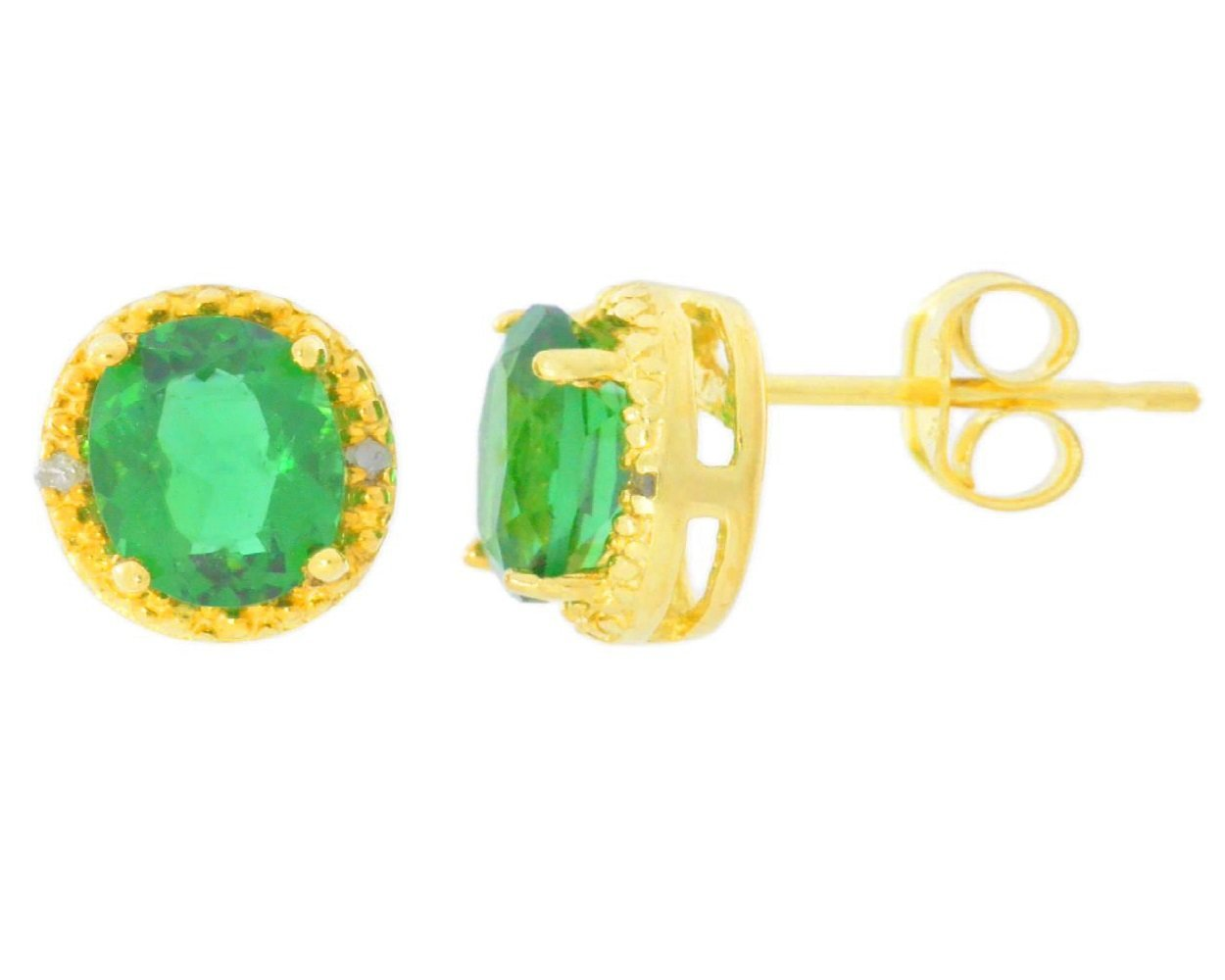 14Kt Yellow Gold Emerald 6mm Round Stud Earrings